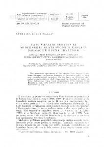 Unio katzeri Brusina iz miocenskih slatkovodnih naslaga Dalmacije (Južna Hrvatska) / A. Žagar-Sakač