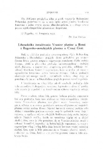 Lihenološka istraživanja Vranice planine u Bosni i Rugovsko-metohijskih planina u Crnoj Gori / F. Kušan