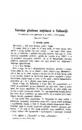 Narodna glazbena umjetnost u Dalmaciji : po stručnom svom putovańu iz g. 1890. i 1892 / L. Kuba