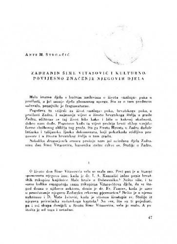 Zadranin Šime Vitasović i kulturno-povijesno značenje njegovih djela / Ante M. Strgačić