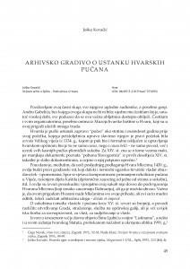 Arhivsko gradivo o ustanku hvarskih pučana / Joško Kovačić