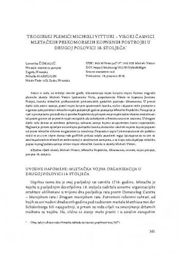 Trogirski plemići Michieli Vitturi - visoki časnici mletačkih prekomorskih kopnenih postrojbi u drugoj polovici 18. stoljeća / Lovorka Čoralić, Nikola Markulin