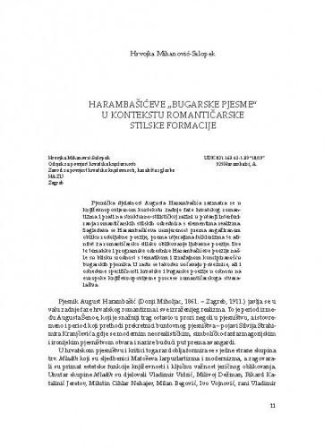 """Harambašićeve """"Bugarske pjesme"""" u kontekstu romantičarske stilske formacije / Hrvojka Mihanović-Salopek"""