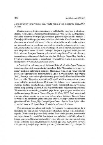 Damiani Benessae poemata, prir. Vlado Rezar. Split: Književni krug, 2017. : [prikaz]Relja Seferović