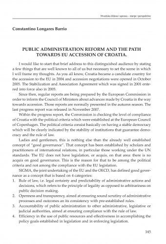Public administration reform and the path towards EU accession of Croatia : [strateške zadaće] / Constantino Longares Barrio