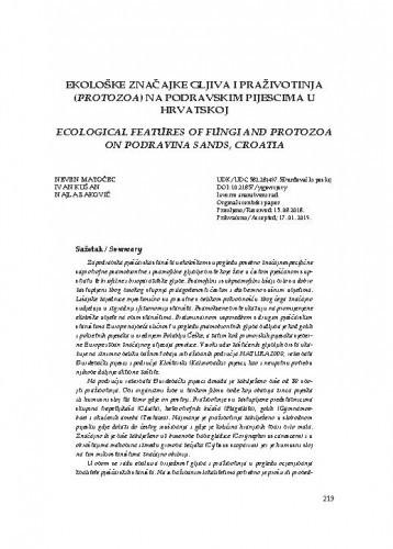 Ekološke značajke gljiva i praživotinja (Protozoa) na podravskim pijescima u Hrvatskoj / Neven Matočec, Ivan Kušan, Najla Baković