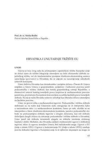 Hrvatska i unutarnje tržište EU : [uvodno izlaganje] / Siniša Rodin