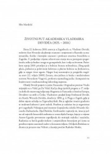 Životni put akademika Vladimira Devidéa : (1925.-2010.) / Sibe Mardešić