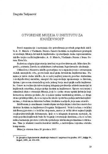 Otvorenje muzeja u Institutu za književnost / Dragutin Tadijanović