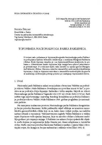 Toponimija Nacionalnoga parka Paklenica / Nataša Šprljan