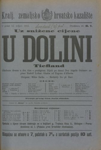 U dolini : Glazbena drama u dva čina s predigrom  =  Tiefland