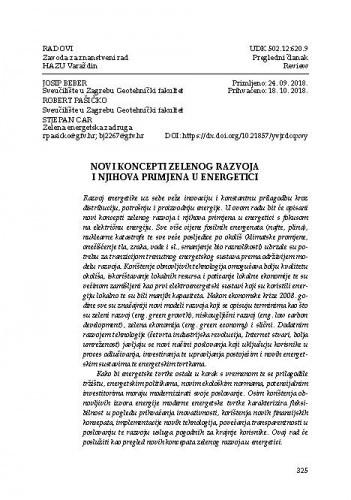 Novi koncepti zelenog razvoja i njihova primjena u energetici / Josip Beber, Robert Pašičko, Stjepan Car