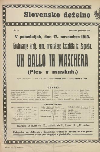 Un ballo in maschera Opera v treh dejanjih  =  Ples v maskah