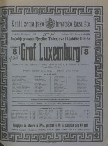 Grof Luxemburg : Opereta u tri čina