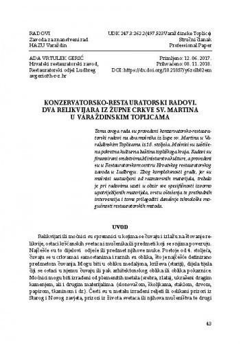 Konzervatorsko-restauratorski radovi. Dva relikvijara iz župne crkve sv. Martina u Varaždinskim Toplicama / Ada Vrutek Gerić