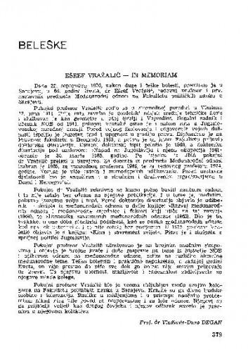 Ešref Vražalić : in memoriam / Vladimir-Đuro Degan