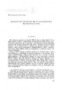 Rukopisni zbornik MR 92 zagrebačke Metropolitane / V. Putanec