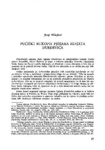 Pučiški rukopis pjesama Ignjata Đurđevića / Josip Mihojević
