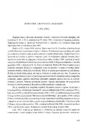 Dorothy Crowfoot Hodgkin : (1910.-1994.) / Drago Grdenić
