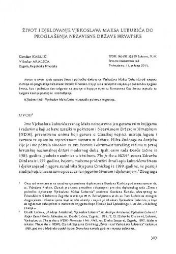 Život i djelovanje Vjekoslava Maksa Luburića do proglašenja Nezavisne Države Hrvatske / Gordan Karlić, Višeslav Aralica