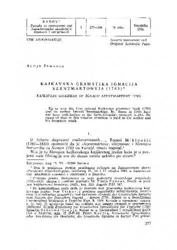 Kajkavska gramatika Ignacija Szentmártonyja (1783) / Alojz Jembrih