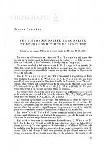 Sur l´hydrosodalite, la sodalite et leurs conditions de synthese / S. Caillere