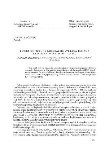 Pučke književne biografije svetaca Ignaca Kristijanovića (1796.-1884.) / Divna Zečević