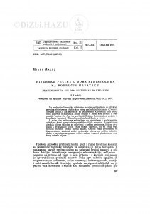 Hijenske pećine u doba pleistocena na području Hrvatske / M. Malez