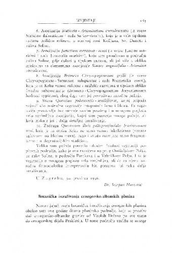 Botanička istraživanja crnogorsko-albanskih planina / F. Kušan