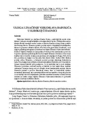 Uloga i značenje Vjekoslava Babukića u Ilirskoj čitaonici / Vesna Vlašić