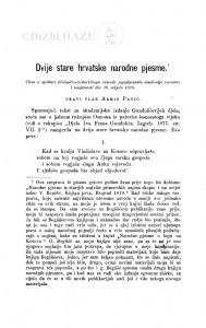 Dvije stare hrvatske narodne pjesme / A. Pavić