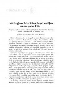 Latinske pjesme Luke Didaka Sorga i austrijska censura godine 1847. / Đ. Körbler