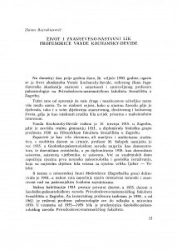 Život i znanstveno-nastavni lik profesorice V. Kochansky-Devidé