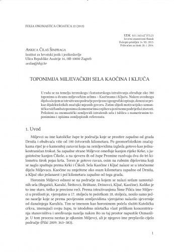 Toponimija miljevačkih sela Kaočina i Ključa / Ankica Čilaš Šimpraga