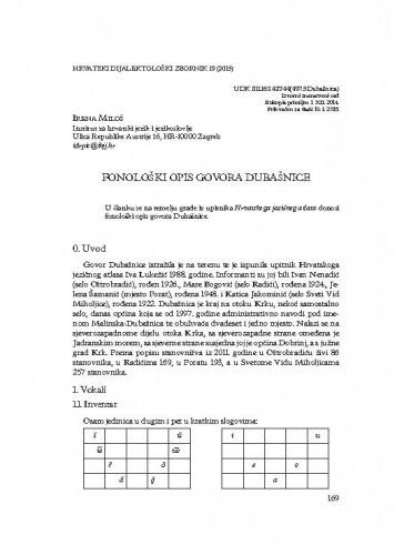 Fonološki opis govora Dubašnice / Irena Miloš