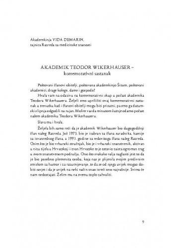 Akademik Teodor Wikerhauser : komemorativni sastanak / Vida Demarin