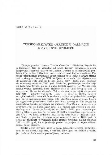 Tursko-mletačke granice u Dalmaciji u XVI. i XVII. stoljeću / Seid M. Traljić