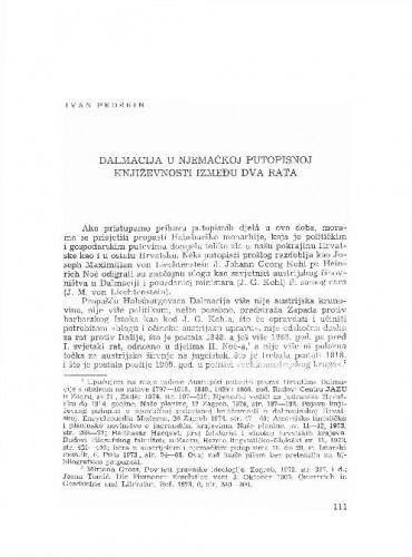 Dalmacija u njemačkoj putopisnoj književnosti između dva rata / Ivan Pederin
