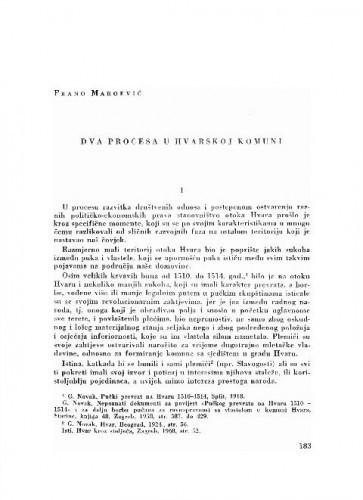Dva procesa u Hvarskoj komuni / Frane Maroević