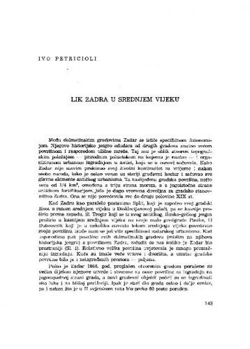 Lik Zadra u srednjem vijeku / Ivo Petricioli