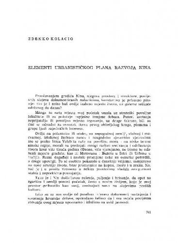 Elementi urbanističkog plana razvoja Nina / Zdenko Kolacio