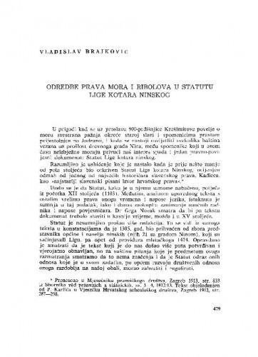 Odredbe prava mora i ribolova u Statutu Lige kotara ninskog / Vladisdlav Brajković