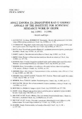 Anali Zavoda za znanstveni rad u Osijeku, knjiga 1(1981.)-14(1998.) : (bibliografija) / Jelica Leščić