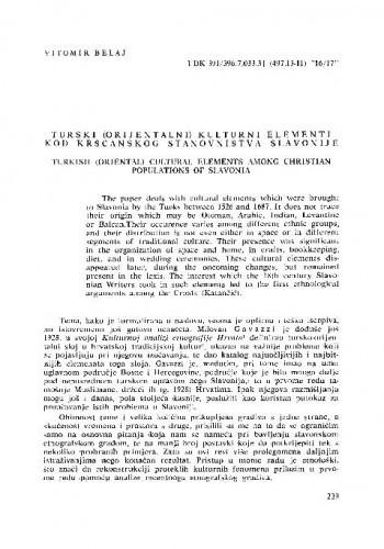 Turski (orijentalni) kulturni elementi kod kršćanskog stanovništva Slavonije / Vitomir Belaj