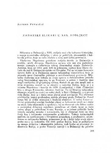 Zadarski slikari u XIX. stoljeću / Alfred Petričić