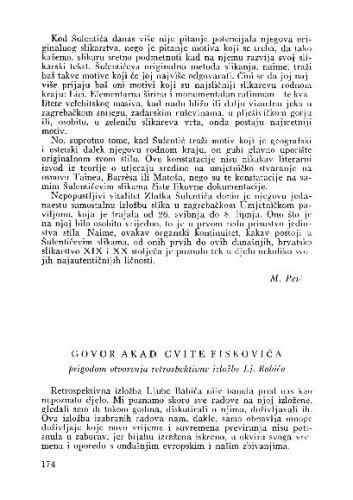 Govor akad. Cvite Fiskovića prigodom otvorenja retrospektivne izložbe Lj. Babića / Cvito Fisković