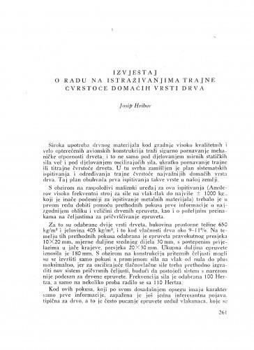 Izvještaj o radu na istraživanjima trajne čvrstoće domaćih vrsti drva / J. Hribar