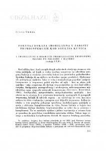 Pokušaj dokaza imobilizina u žarištu primoinfekcije kod sifilisa kunića / I. Ohrel