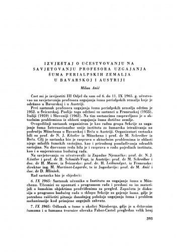 Izvještaj o učestvovanju na Savjetovanju profesora uzgajanja šuma perialpskih zemalja u Bavarskoj i Austriji / M. Anić