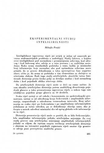Eksperimentalni studij inteligibilnosti / M. Pražić